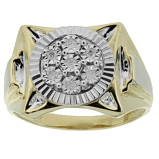 10K Yellow Gold Men's 1/10ct TDW Diamond Ring (GH- SI3-I1)