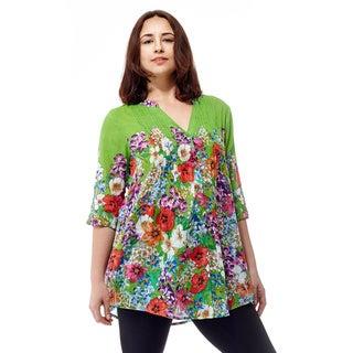 La Cera Women's 3/4 Sleeve Printed Tunic Top