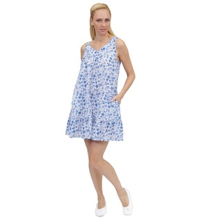 La Cera Women's Sleeveless V-Yoke Printed Chemise