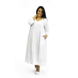 La Cera Women's Plus Size Long Sleeve Embroidered Cotton Gown