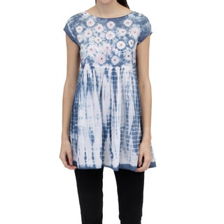 La Cera Women's Voile Tie-Dyed Tunic Top