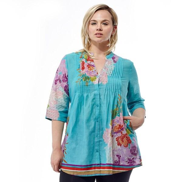 La Cera Women's Plus Size 3/4 Sleeve Pleated Tunic Top