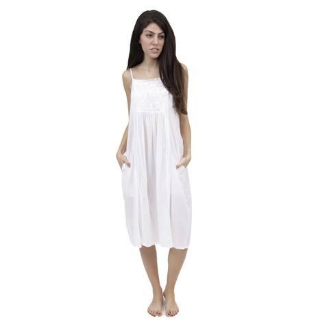 La Cera Women's Embroidered Bib Yoke Sleeveless Gown