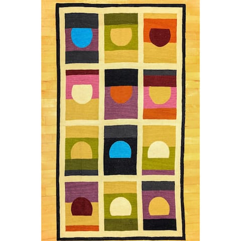 Indian Handmade Modern Chainstitch Wool/ Cotton Geometric Rug (3' x 5') - 3' x 5'