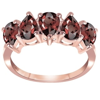 2.50 Cttw Genuine Garnet Pear Shape Rose Gold Plated 925 Sterling Silver Ring