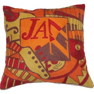 Handmade Jazz Wool Chainstitch Pillow Cover (India)