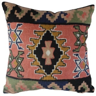 Handmade Kilim Wool Chain-Stitch Pillow Cover (India)