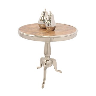 Metal and Wood Round Accent Table
