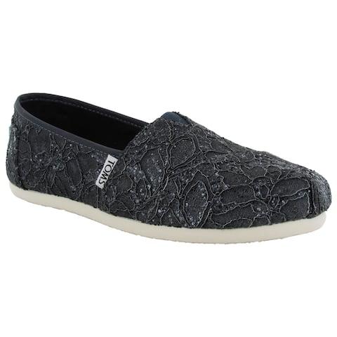 Toms Women's Lace Glitz Slip On Alpargata Flat Shoes