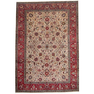 Herat Oriental Persian Hand-knotted 1950's Semi-antique Tabriz Ivory/ Red Wool Rug (8'6 x 12')
