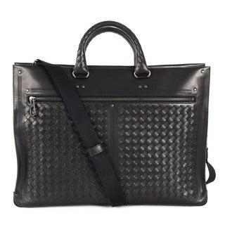 Bottega Veneta Black Woven Texture Briefcase
