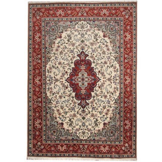 Herat Oriental Persian Hand-knotted 1970's Semi-antique Tabriz Ivory/ Rust Wool Rug (8' x 11'6)