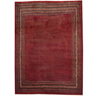 Herat Oriental Persian Hand-knotted 1960's Semi-antique Mir Red/ Ivory Wool Rug (8'10 x 12')
