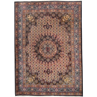 Herat Oriental Persian Hand-knotted 1960's Semi-antique Moud Ivory/ Navy Wool Rug (8'7 x 12'1)