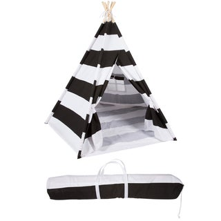 Trademark Innovations Playful Stripes 6-foot Canvas Teepee with Carry Case