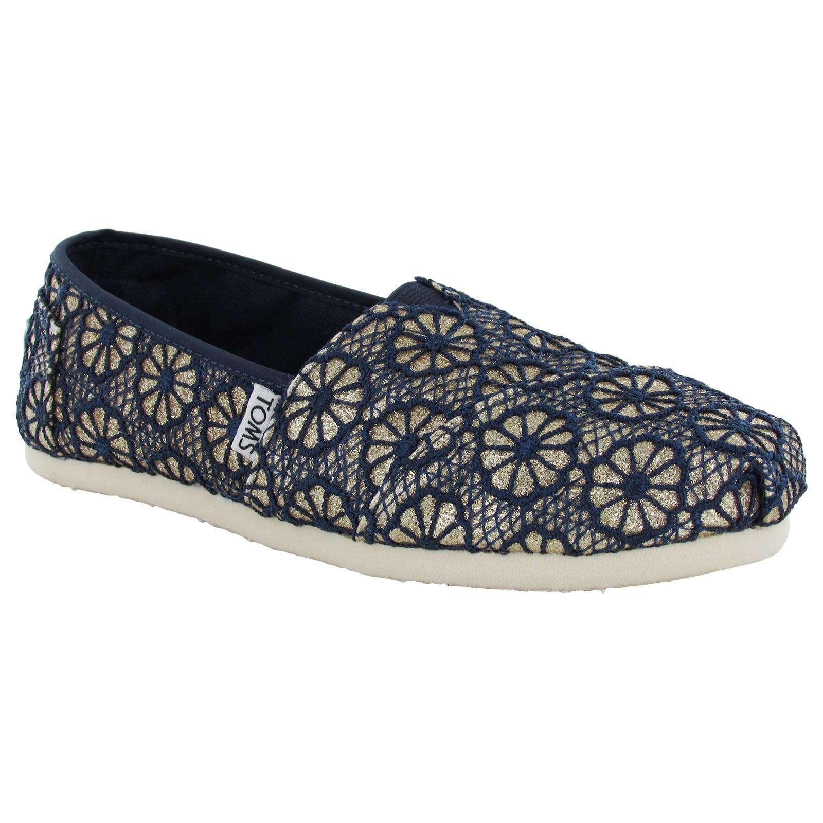 Toms Women's Crochet Glitter Slip On Alpargata Flat Shoes...