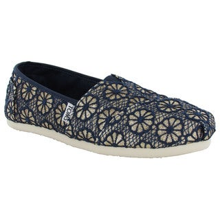 Toms Women's Crochet Glitter Slip On Alpargata Flat Shoes