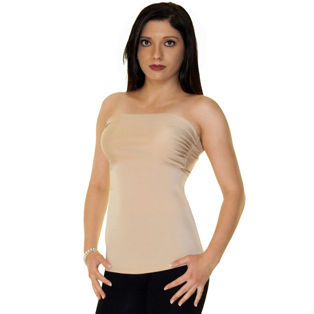 InstantFigure Apparel Nylon/Spandex Strapless Bandeau Top
