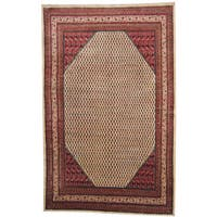 Herat Oriental Persian Hand-knotted 1960s Semi-antique Mir Wool Rug (7'5 x 11'6) - 7'5 x 11'6
