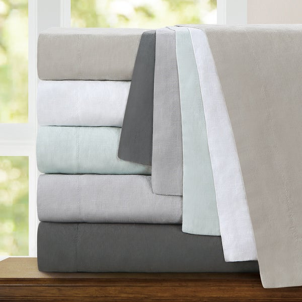 Echelon Home Washed Belgian Linen Duvet Cover Set
