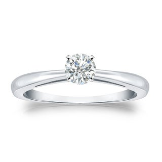 Auriya Platinum 1/4ctw Round Solitaire Diamond Engagement Ring