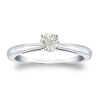 Auriya Platinum 1/4ct TDW Round-cut Diamond Solitaire Engagement Ring (J-K, I1-I2)