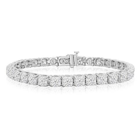 14k White Gold 9 1/2 to 14 1/2ct TDW Round Diamond Tennis Bracelet (J-K, I2-I3) - White J-K