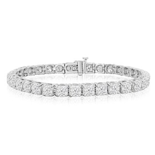 14k White Gold 9 1/2 to 14 1/2ct TDW Round Diamond Tennis Bracelet (J-K, I2-I3) - White J-K