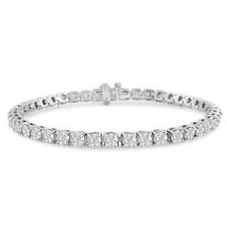 14k White Gold 8 to 11 7/8ct TDW Round Diamond Tennis Bracelet (J-K, I2-I3)