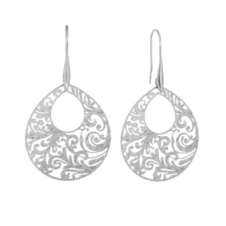 Isla Simone Silver Tone Paisley Etched Oval Earring