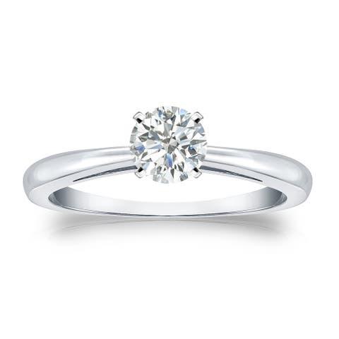 Auriya Platinum 1/3ctw Round Solitaire Diamond Engagement Ring