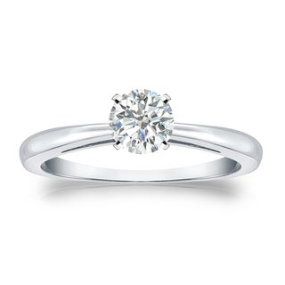 Auriya Platinum 1/3ct TDW Round-cut Diamond Solitaire Engagement Ring (I-J, SI2-SI3)