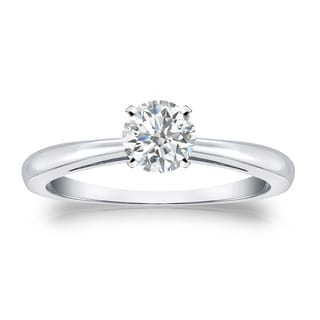 Auriya Platinum 1/3ct TDW Round-cut Diamond Solitaire Engagement Ring (I-J, SI1-SI2)