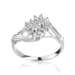 Andrew Charles 14k White Gold 2/5ct TDW Diamond Cluster Ring (H-I, SI2-I1)