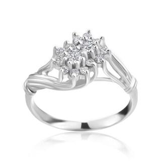 SummerRose 14k White Gold 2/5ct TDW Diamond Cluster Ring
