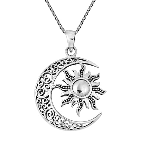 Handmade Celtic Crescent Moon and Sun Eclipse .925 Silver Necklace (Thailand)