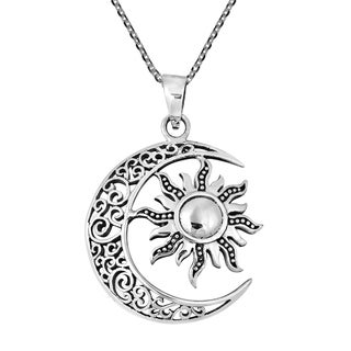 Celtic Crescent Moon and Sun Eclipse .925 Silver Necklace (Thailand)