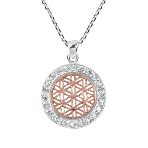 Handmade Flower of Life Rose Gold Vermeil Over .925 Silver Necklace (Thailand)
