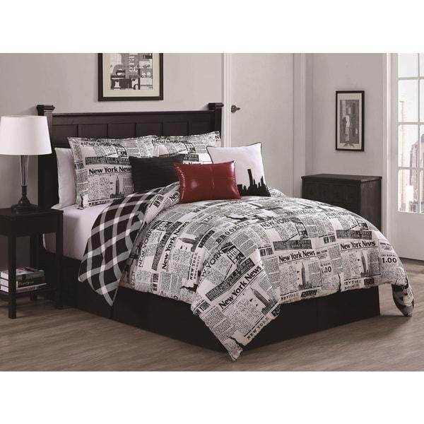 Newspaper Reversible 7-piece Comforter Set