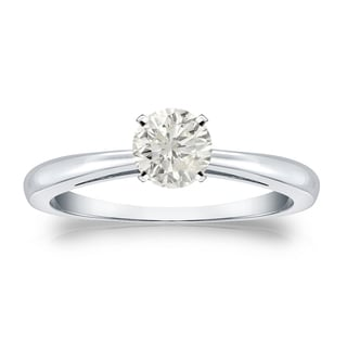 Auriya Platinum 1/3ct TDW Round-cut Diamond Solitaire Engagement Ring (J-K, I1-I2)