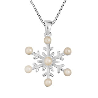 Freshwater Pearl Frosty Snowflake .925 Silver Necklace (Thailand)