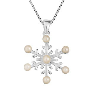 Handmade Freshwater Pearl Frosty Snowflake .925 Silver Necklace (Thailand)