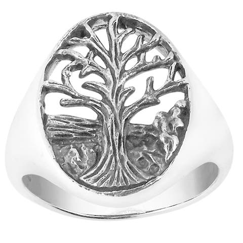 Handmade Enchanted Oval Big Tree of Life Sterling Silver Ring (Thailand)