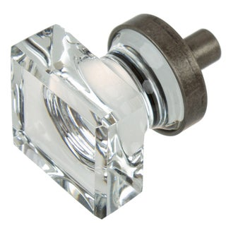 GlideRite 1 Inch Aged Pewter Square Glass Cabinet Knobs (Pack Of 10 Or 25