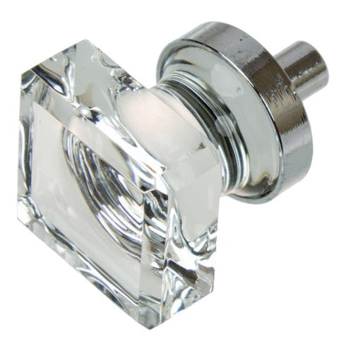 GlideRite 1-inch Polished Chrome Square Glass Cabinet Knobs (Pack of 10 or 25)