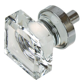 GlideRite 1-inch Polished Chrome Square Glass Cabinet Knobs (Pack of 10 or 25) (2 options available)