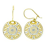Versil 14k Two-tone Greek Key Dangle Earrings - Gold