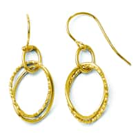 Versil 14 Karat Polished and Textured Shepherd Hook Earrings