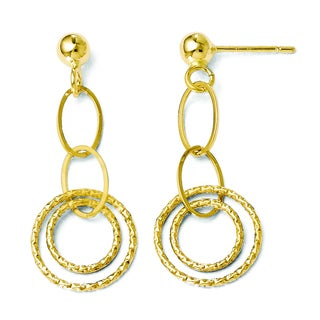 Versil 14k Polished and Textured Post Dangle Earrings