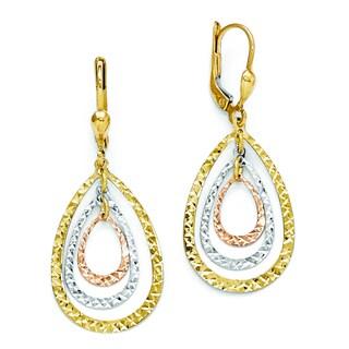 Versil Women's 14k Tri-color Polished & Diamond-cut Leverback Earrings